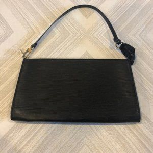 Louis Vuitton Pochette Black Epi Clutch Wristlet